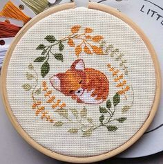 Sleepy Fox Cross Stitch Pattern, instant digital download * kit available