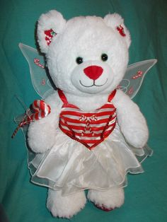 "Build- A-Bear 15"" White PEPPERMINT KISSES Bear Plush Candy Cane Fairy Costume  #Christmas"