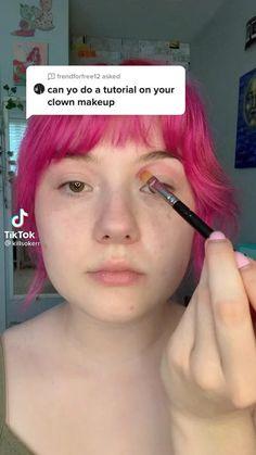 Cute Makeup Looks, Creative Makeup Looks, Pretty Makeup, Emo Makeup, Clown Makeup, Makeup Inspo, Butterfly Makeup, Creepy Halloween Makeup, Face Paint Makeup