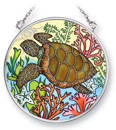 Amia Suncatcher Featuring a Turtle Design, Hand Painted Glass, 3-1/2-Inch Circle by Amia. $10.00. Includes chain. Comes boxed, makes for a great gift as well. Handpainted glass. Enjoy this beautiful, handpainted glass suncatcher by Amia. Includes chain for hanging purposes.