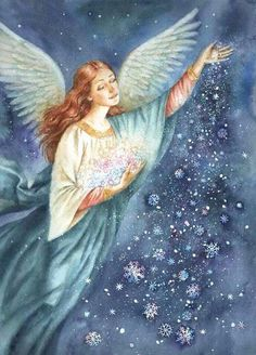 I had this on my Fantasy Board. Just perfect bountiful Angel Blessings 😇 Angel Images, Angel Pictures, I Believe In Angels, My Guardian Angel, Angels Among Us, Angels In Heaven, Illustration, Angel Art, Christmas Angels