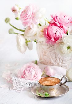 Tea and pink flowers
