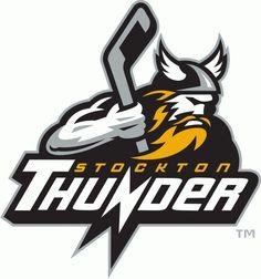 Stockton Thunder Primary Logo (2006) - A Roman god holding a stick above team script