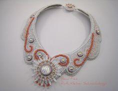 Perlenstickerei Collier Brautschmuck weiß rosa von BeadFizz auf Etsy