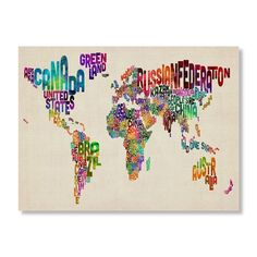 Typography World Map II by Michael Tompsett - 18 x 24 in. | Find it at the Foundary