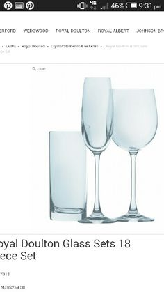 Royal Doulton 18 piece crystal glassware set