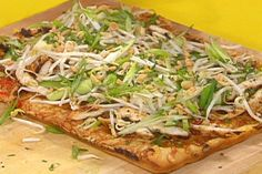 Get Thai Chicken Pizza Recipe from Food Network - remove chicken and add more veggies
