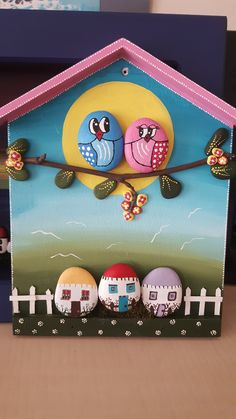 Stone Crafts, Rock Crafts, Diy Arts And Crafts, Pebble Painting, Pebble Art, Stone Painting, Mundo Hippie, Pewter Art, Bird Houses Painted