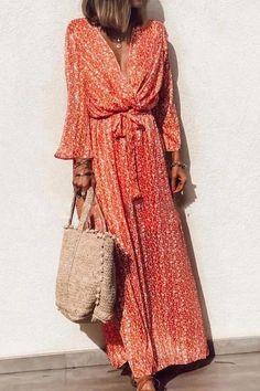 Damen Sommerkleid Boho Lang Kleid Maxikleid V-Ausschnitt Partykleid Strandkleid Long Sleeve Maxi, Maxi Dress With Sleeves, V Neck Dress, Elegant Dresses, Casual Dresses, Maxi Dresses, Beach Dresses, Vacation Dresses, Floral Dresses