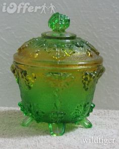 jeanette glass grapevine candy dish with lid in green-gold, Mack broke mine this morning, please help me find a replacement. sp