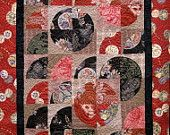 Patchwork Quilt - black and red Japanese Drunkard's Path wall hanging. $320.00, via Etsy.