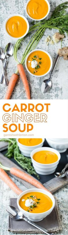 Need an easy soup recipe for your next party? This savory Carrot Ginger Soup makes a delicious first course!