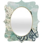 Deny Designs Sea Fairy Quatrefoil Accent Mirror Size: H x W x D Vanity Wall Mirror, Round Wall Mirror, Mirror Set, Floor Mirror, Floral Bedspread, Baroque Mirror, Mirror With Hooks, Contemporary Wall Mirrors, Teal Accents