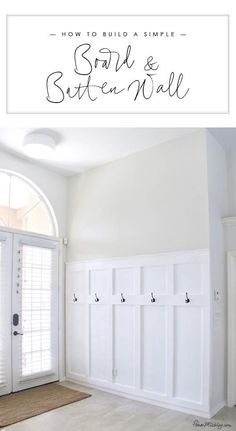 How to build a simple board and batten wall in entryway - moulding panels wainsc.How to build a simple board and batten wall in entryway - moulding panels wainscotting board and batten moulding wall entryway mudroom diy tutorial So. House Design, Wall Molding, Home Projects, Remodel, Home Remodeling, New Homes, Home Decor, Board And Batten, Mudroom Entryway