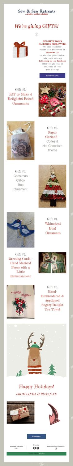 We're givingGIFTS! Facebook Followers, Bird Ornaments, Giving, Happy Holidays, Workshop, Fabric, How To Make, Gifts, Tejido