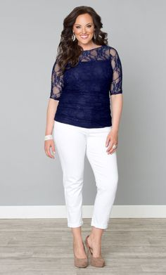Curvalicious Clothes :: Plus Size Tops :: Smitten Lace Top in Royal Sapphire