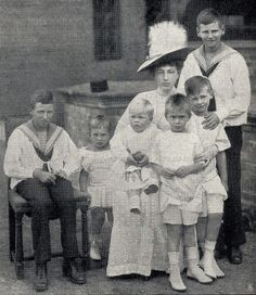 Dowager Grand Duchess Anastasia of Mecklenburg-Schwerin, neé Grand Duchess Anastasia Mikhailovna of Russia, and grandsons. From left to right : Prince Knud of Denmark, Prince Hubertus of Prussia, Hereditary Grand Duke Friedrich Franz of Mecklenburg Schwerin, Prince Louis Ferdinand of Prussia, Prince Wilhelm of Prussia and crownprince Frederik of Denmark (later King Frederik IX of Denmark).Circa 1911.