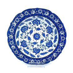 Iznik Plate painted in lapis lazuli blue with stylized peonies, in David Collection Islamic Art.