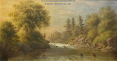 Presumpscot Falls, 1867. John Bradley Hudson Jr. (1832-1903) painted this scene of Presumpscot Falls in Portland in about 1867. Hudson did many marine landscapes, but also did ornamental painting on signs, coaches, fire buckets and fireplace boards. Item # 6958 on Maine Memory Network