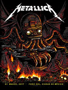 "Official METALLICA print by Munk One. From the March show in Mexico City Night 5 Color Screen printed Poster Approx. 18 "" x on Blood Red Foil stock AP Red Foil Metallica Art, Metallica Concert, Rock Bands, Metal Bands, Music Artwork, Metal Artwork, Tour Posters, Band Posters, Heavy Metal"