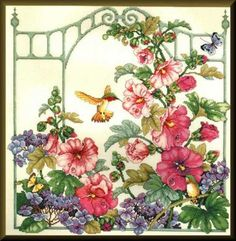 Photo for Hummingbirds. Cross Stitch Bird, Cross Stitch Animals, Cross Stitch Flowers, Cross Stitch Designs, Cross Stitch Embroidery, Cross Stitch Patterns, Flower Vases, Flower Art, Chinese Flowers