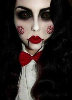 maquillaje-halloween-saw-billy . - maquillaje-halloween-saw-billy … maquillaje-halloween-saw-billy Más Costume Halloween, Cool Halloween Makeup, Halloween Looks, Halloween Party, Women Halloween, Halloween 2015, Halloween Nails, Halloween Kitchen, Couple Halloween