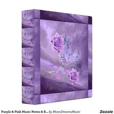 #Purple&Pink #MusicNotes&Roses #AveryBinder or #PhotoAlbum by #MoonDreamsMusic