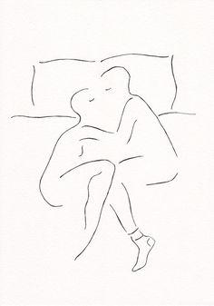 Man en vrouw in bed. Minimalistisch zwart / wit van siret op Etsy
