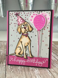 Tim Holtz Crazy Dogs happy birthday card!!; Aug 2016 #timholtz #ranger…