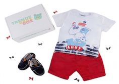 100% cotton high quality t-shirt and bright fun shorts with little leather and suede moccasins - Just one of the baby boy outfits we've shipped out to Trendy Baby Box Subscribers