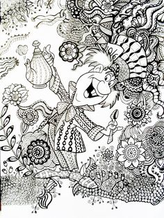 Mad Hatter Alice in Wonderland An example of how a regular coloring book printable/page can be transformed with Zentangle.