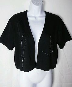 Richard & Co. NEW Black Short Sleeve Beaded 100% Cotton Bolero Ladies S