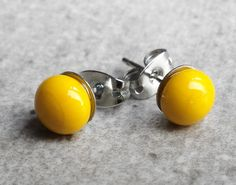 Yellow Stud Earrings Small  Earrings Yellow Fused by GLASPUNT