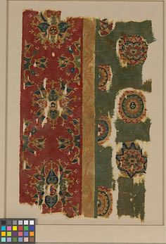 Object Name:      Fragment  Date:      mid-8th century  Geography:      Iran, Iraq, or Egypt  Medium:      Wool; tapestry weave  Dimensions:      Textile: L. 12 in. (30.5 cm) W. 18 3/4 in. (47.6 cm) Mount: L. 23 13/16 in. (60.5 cm) W. 17 13/16 in. (45.2 cm) D. 7/8 in. (2.2 cm)  Classification:      Textiles-Woven  Credit Line:      Rogers Fund, 1950  Accession Number:      50.83
