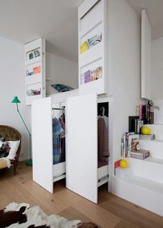 The small Parisian apartment of two architects - PLANETE DECO a homes world # a . - The small Parisian apartment of two architects – PLANETE DECO a homes world # appartement - Bedroom Loft, Bedroom Storage, Dream Bedroom, Girls Bedroom, Bedroom Decor, Trendy Bedroom, Mezzanine Bedroom, Bedroom Ideas, Budget Bedroom