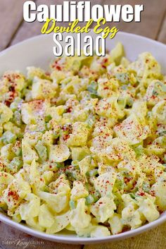 This low carb keto deviled egg cauliflower salad recipe is easy to make and will quickly replace any potato salad recipe you have ever used! keto lowcarb lowcarbhighfat lchf cauliflower salad easy recipe bobbiskozykitchen com almond flour bread Deviled Egg Potato Salad, Keto Deviled Eggs, Cauliflower Potatoes, Keto Cauliflower, Frozen Cauliflower Recipes, Broccoli Cauliflower Salad, Keto Recipes, Cooking Recipes, Healthy Recipes