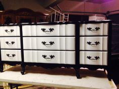 French Provincial 9 drawer dresser in Black by PerfectlyPaintedd, $499.00