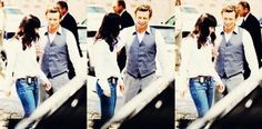 Simon Baker as Patrick Jane and Robin Tunney as Teresa Lisbon - The Mentalist BTS