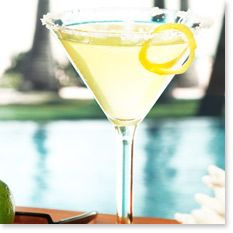 Tommy Bahama Recipe MEYER LEMON DROP Featuring Tommy Bahama Rum®  2½ parts Tommy Bahama White Sand® Rum ¾ part triple sec 1 part sour mix ½ part Meyer lemon juice  Squeeze juice from a ¼ slice of Meyer lemon into a mixing glass. Add remaining ingredients. Shake 20 times and strain into a martini glass rimmed with sugar in the raw.