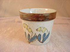 Vtg Speckled Ceramic Yellow Blue Flowers Planter Pot near 4 inch