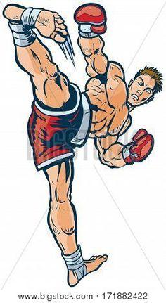 #Vector #cartoon #clipart #illustration of a #kickboxer #executing a #highsidekick toward the viewer.