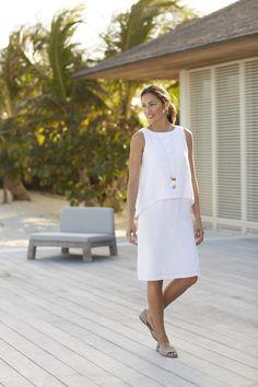 Pure Jill tiered linen dress
