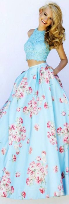 Sherri Hill ~ Floral Print Long Skirt & Lace Halter Top, Light Blue, Spring 2015
