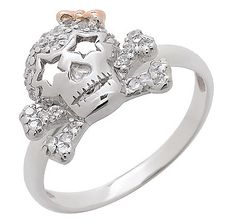 Sigal Style Pretty Cubic Zirconia Skull & Bow Sterling Silver Ring
