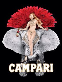 Vintage Campari Poster Aperitif Wall Art, Mens Gift for Women, Burlesque Elephant Illustration, Cocktail Bar Wall Decor, Office Art by ArleyArt on Etsy
