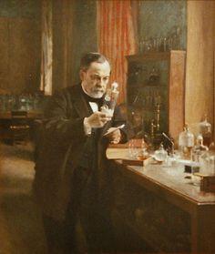 Louis Pasteur in his laboratory.  Painting by Albert Edelfeldt (1885).