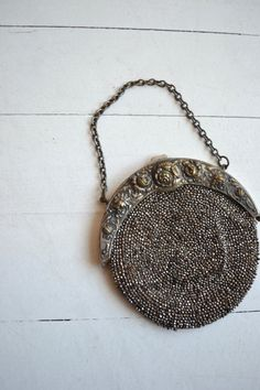 Edwardian Silver Repousse purse | antique 1900s beaded bag | vintage Chatelaine purse