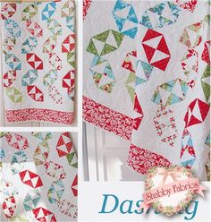 """Dashing: Dashing is a fun pieced quilt made with a Layer Cake and just a touch of yardage.  Finished quilt measures 63"""" by 75""""."""