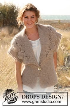 """Beautiful You! / DROPS 130-2 - Knitted DROPS jacket in garter st with broad collar and lace pattern in """"Alpaca"""" and """"Kid-Silk"""".   Size: S - XXXL.   - Free pattern by DROPS Design"""