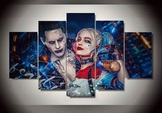 5 Panel Suicide Squad Joker With Harley Quinn Modern Home Wall Decor Canvas Picture Art HD Print Painting On Canvas Artworks Kids Room Art, Art Wall Kids, Wall Art, Childrens Room Decor, Joker And Harley Quinn, Home Wall Decor, Canvas Pictures, Canvas Artwork, Beautiful Paintings